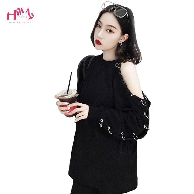 f65541a18601f Korean Harajuku Women Long Sleeve T Shirt 2019 Spring BF Chic Style Black  Top Off Shoulder