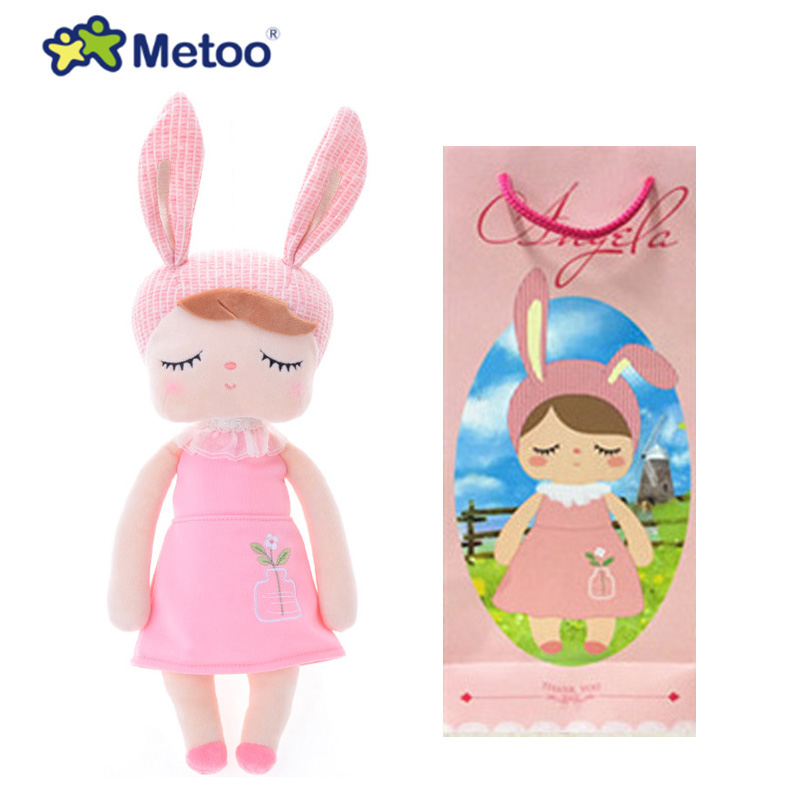 Metoo Doll Stuffed Toys Plush Animals Soft Kids Baby Toys for Girls Children Boys Kawaii Cartoon Angela Rabbit Baby Doll Toy 30cm cute korea pororo little penguin plush toys doll pororo with glasses plush soft stuffed animals toys for children kids gift