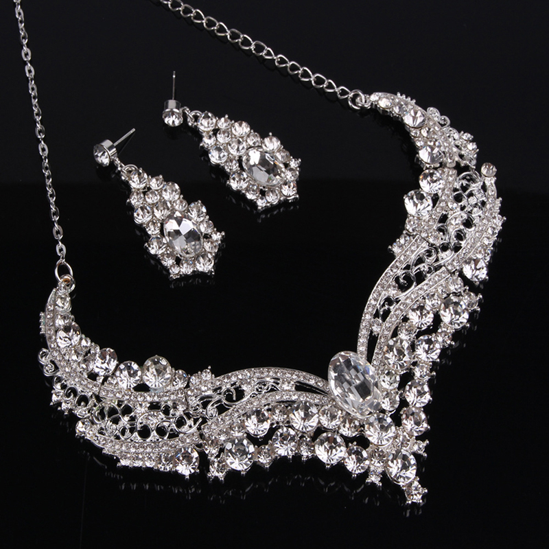 Crystal Drop Necklace Earrings Jewelry Set Wedding Party Crystal Bridal Jewellery Set Rhinestone Ethiopian Jewelry