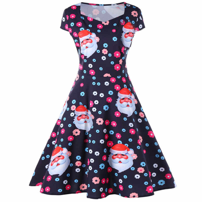 Women s Vintage Print Long Sleeve Christmas Evening Party Dress women dresses  free shipping lady dresses Vestidos ec152de710b7