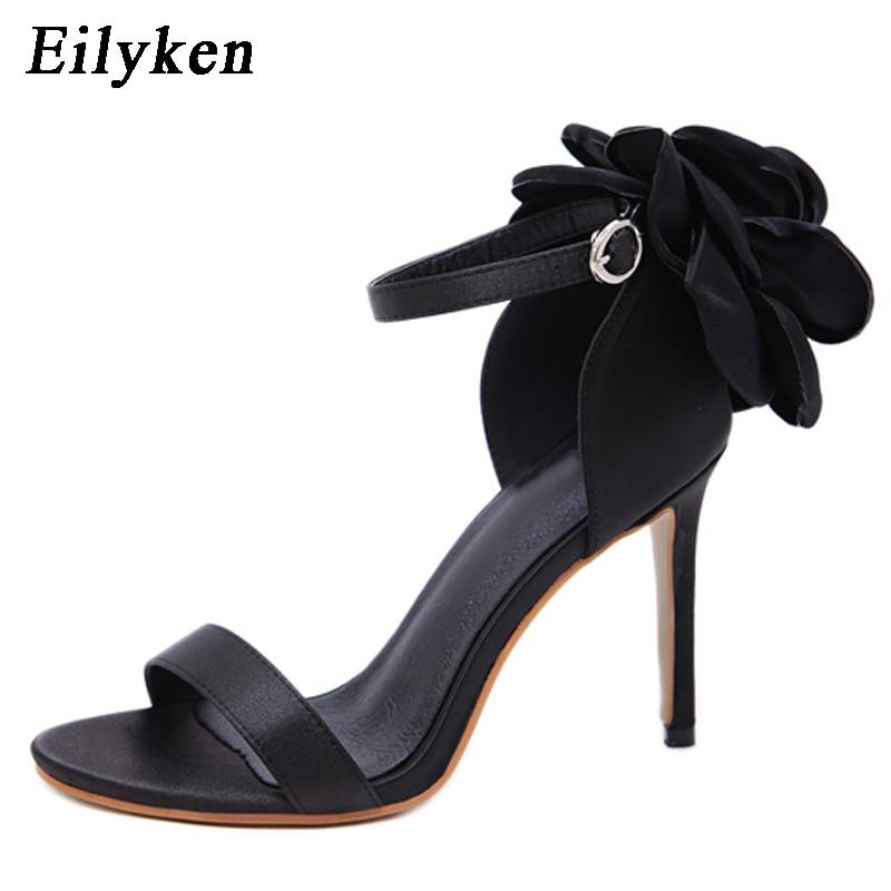 Flower Women's Sandals High Heels Buckle Strap Sandals 1