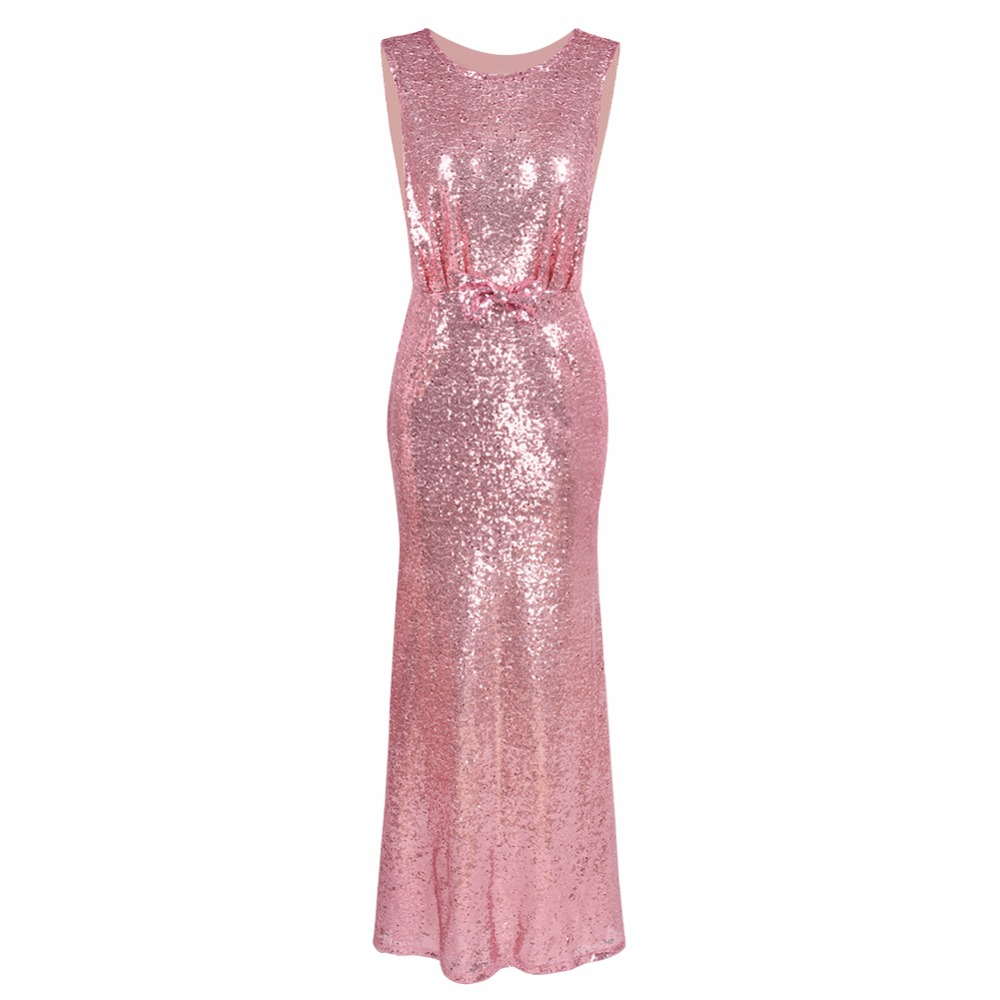 Himanjie Luxury Gold Silver Long Sequin Dress Pink Double O Neck ...