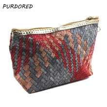 PURDORED 1 pc Solid Cosmetic Bag Women Weaving Makeup Organizer PU Travel Makeup Bag Cosmetic Cases necessarie Dropshipping