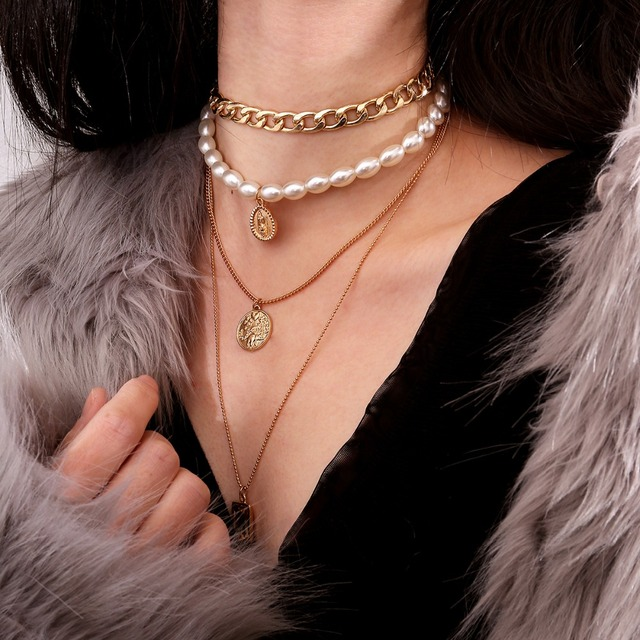 Layered Pearl Choker Necklace Collar Statement  1