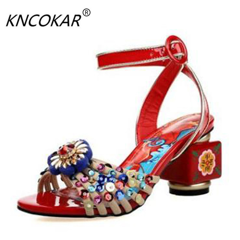 Thick high-heeled leather sandals female summer national classical elegant hand-painted flowers peep-toe diamond retro cheongsam han edition diamond thick bottom female sandals 2017 new summer peep toe fashion sandals prevent slippery outside wear female