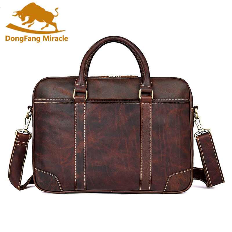 High Quality Men's Leather Briefcases Men Large Capacity Document Briefcase Business Male Office Briefcase Totes Portfolio
