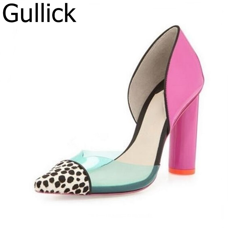все цены на Women Hot Selling Leopard Pointed Toe Thick Heels Pumps PVC Transparent Cut-out Women Dress Shoes Patchwork Cover Heels Pumps