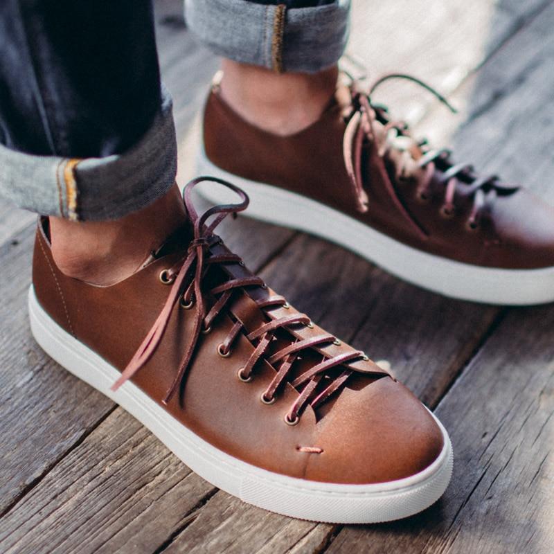 Maden Vintage sportos férfiak cipők csipke cipő Retro viaszos bőr - Férfi cipők