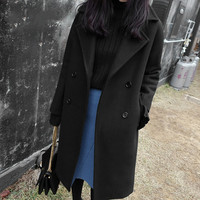 2018 Autumn Winter Korean Long Sleeve Fashion Temperament Thick Woolen Coat Black