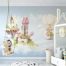 Custom murals 3D castle hot air balloon fantasy 3d blue sky white clouds children room background wall covering wallpaper mural цена 2017