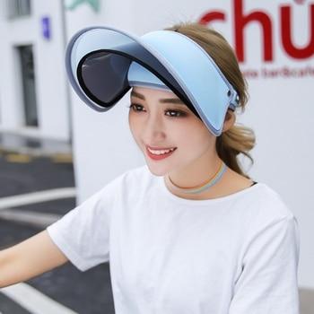 Doble sombreros visera del verano femenino Sol vacío tapa superior sólido  unisex UV Sol mujer sombrero de playa sombrero del visera UV plástico  gorras ... 89b0f321049