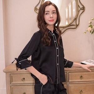 Image 4 - Prawdziwy jedwab kobiet piżamy 100% jedwabna bielizna nocna kobiet wysokiej jakości Sexy czarne spodnie piżamy dwuczęściowe zestawy T8148