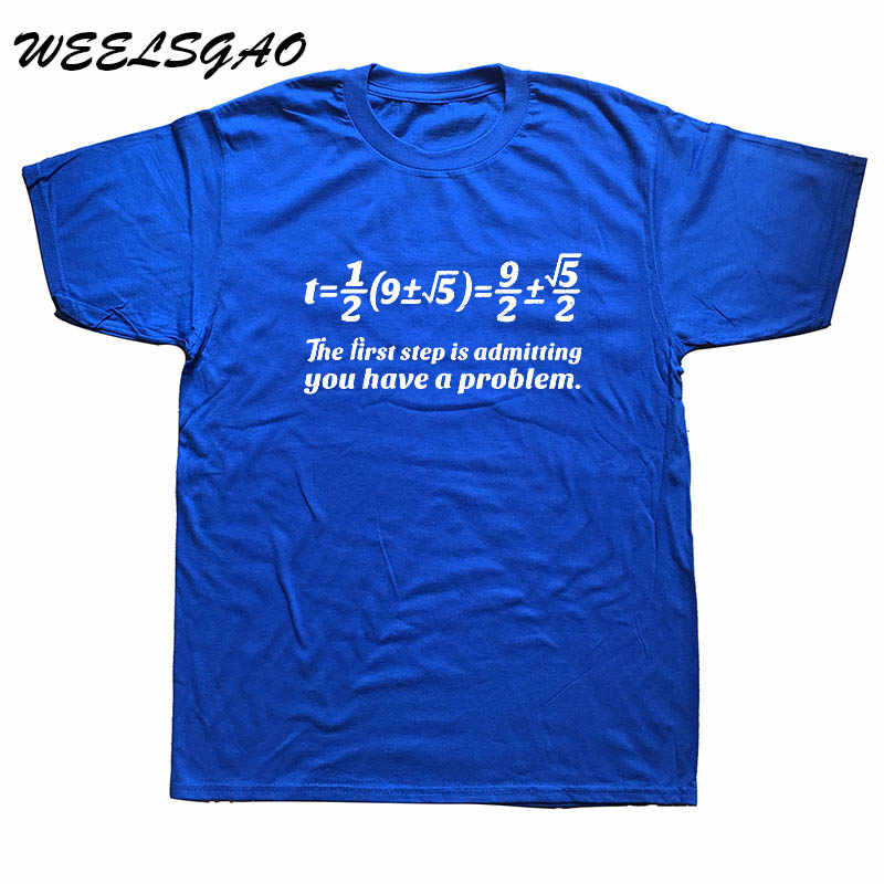 Мужские футболки рубашки для мальчиков первый шаг возникновения каких-либо проблем футболка, посвященная математике Колледж мастер Nerd подарок на день рождения мода футболки с О-образным вырезом