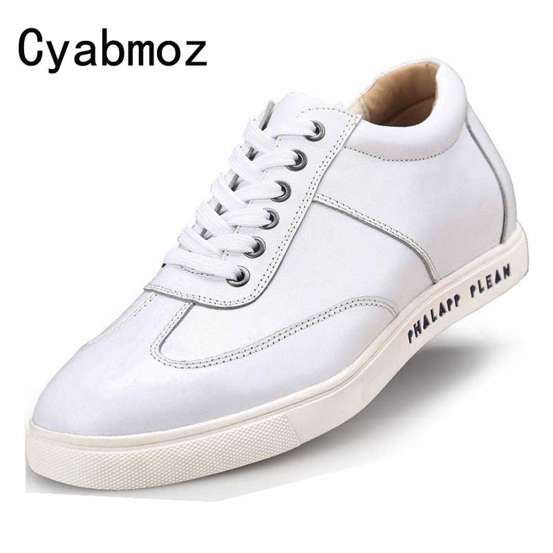 US $69.21 10% OFF|Men Casual Shoes Fashion Leisure Calf Leather Shoes Flats Height Increasing 6CM Elevator Shoes with Hidden Insole Black White in
