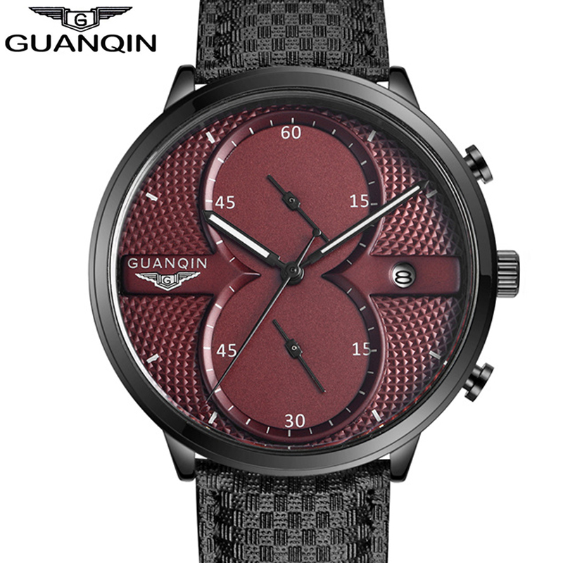 Men Watches Top Brand Luxury GUANQIN Chronograph Men Military Sport Luminous Wristwatch Leather Quartz Watch relogio masculino mens watches top brand luxury guanqin men fashion moon phase luminous wristwatch sport leather quartz watch relogio masculino