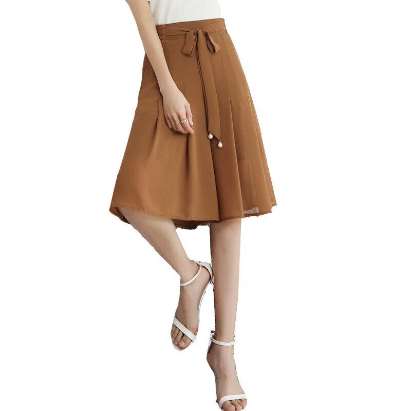 Nouveau mode noir en mousseline de soie lâche large jambe pantalon cinq pantalons élastique taille haute Culottes divisé escarmouche été grande taille 5XL