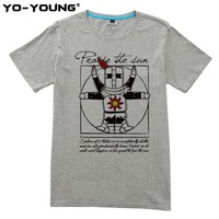 Yo Young Men T Shirts Dark Souls Praise The Sun Design Digital Printed 100 180g Combed