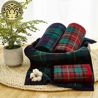 luxury percale egyptian cotton plaid face bath towel set 2pcs green/red