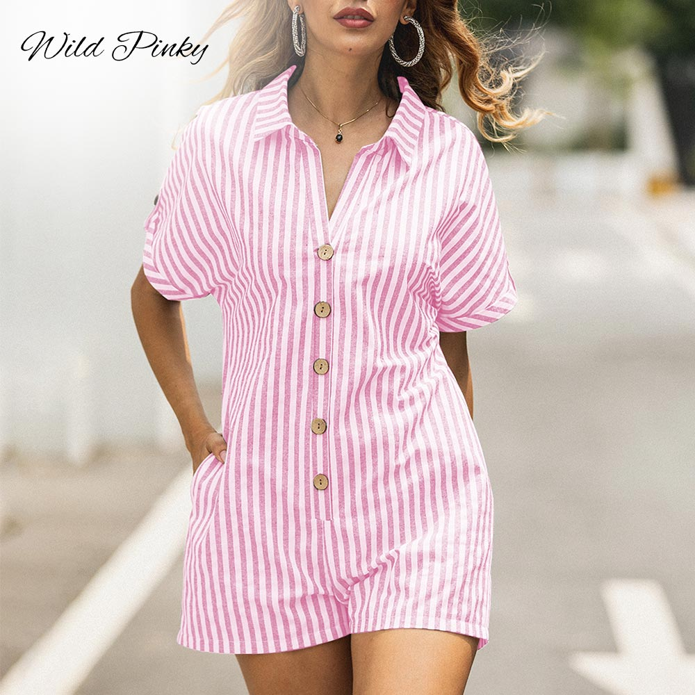 WildPinky Buttons Turn Down Collar Beach Playsuits Summer Women Striped Jumpsuits Girls Casual Playsuit Overalls Femininos