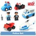 8 unids Policía Set Funlock Duplo Ciudad Héroes Escena Bloques Juguetes Para Niños
