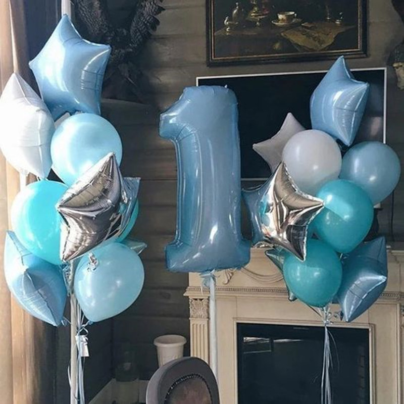 1set Birthday Party Balloon Digit <font><b>1</b></font> Helium Foil Balloons Boy Girl My <font><b>1</b></font> Years old Baloon Baby Shower Party Decorations Supplies image