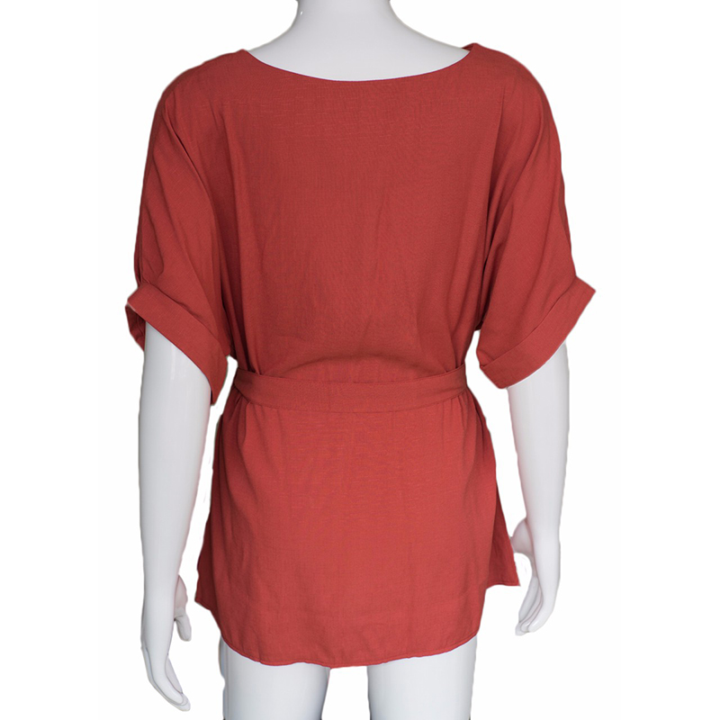 HTB1E7U4QpXXXXa0XFXXq6xXFXXXa - Women Shirts Linen Tunic Shirt V Neck Big Bow Batwing Tie