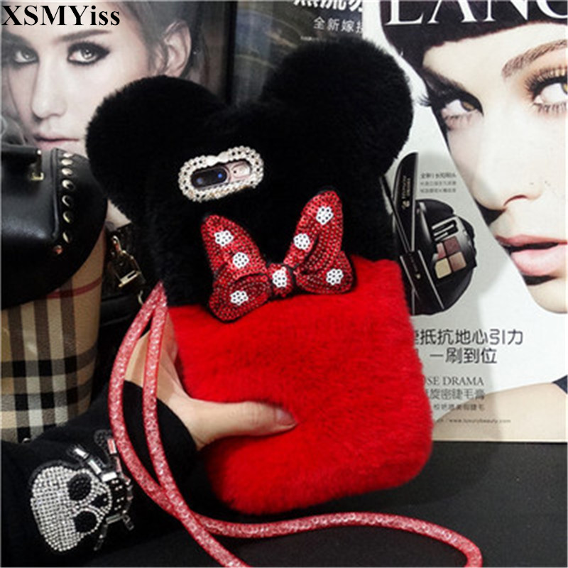 For SamsungA9 A8 A6 PLUS A50 <font><b>A70</b></font> A80 Luxury <font><b>Cute</b></font> Cartoon Panda Bowknot Warm Rabbit Fur Back Cover For <font><b>Samsung</b></font> j4 j6 j8 2018 <font><b>Case</b></font> image
