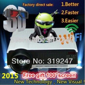 5500 lumen Android4.4 HD LED Wifi Intelligent Projecteur 230 W 3D home cinéma LCD Vidéo Proyector TV Beamer avec Bluetooth 4.0