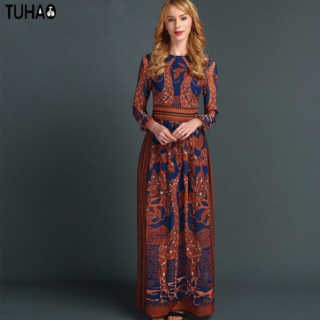 TUHAO Giraffe Dress Print Maxi Long Vintage Woman Summer Bohemian Dresses A Line  Big Swing Party Clothes Femme Eurpoe Style XX12 a415cdd1f
