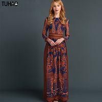 TUHAO Giraffe Dress Print Maxi Long Vintage Woman Summer Bohemian Dresses A Line Big Swing Party