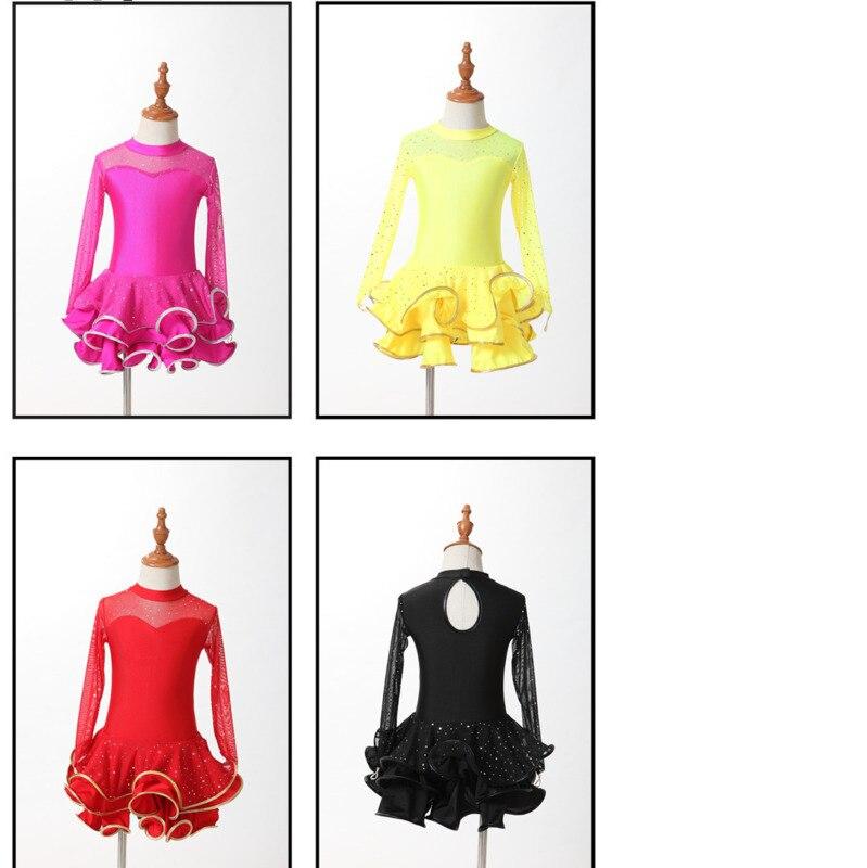 red Kids Latin Dress Costumes children Long Sleeve Ballroom Dance spandex For Girls Salsa Rumba Cha Cha Samba Tango ruffle skirt