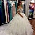 Vestido De Noiva Ball Gown Wedding Dresses Real Photo Appliques Beaded Sweetheart Off The Shoulder Long Wedding Bridal Dresses