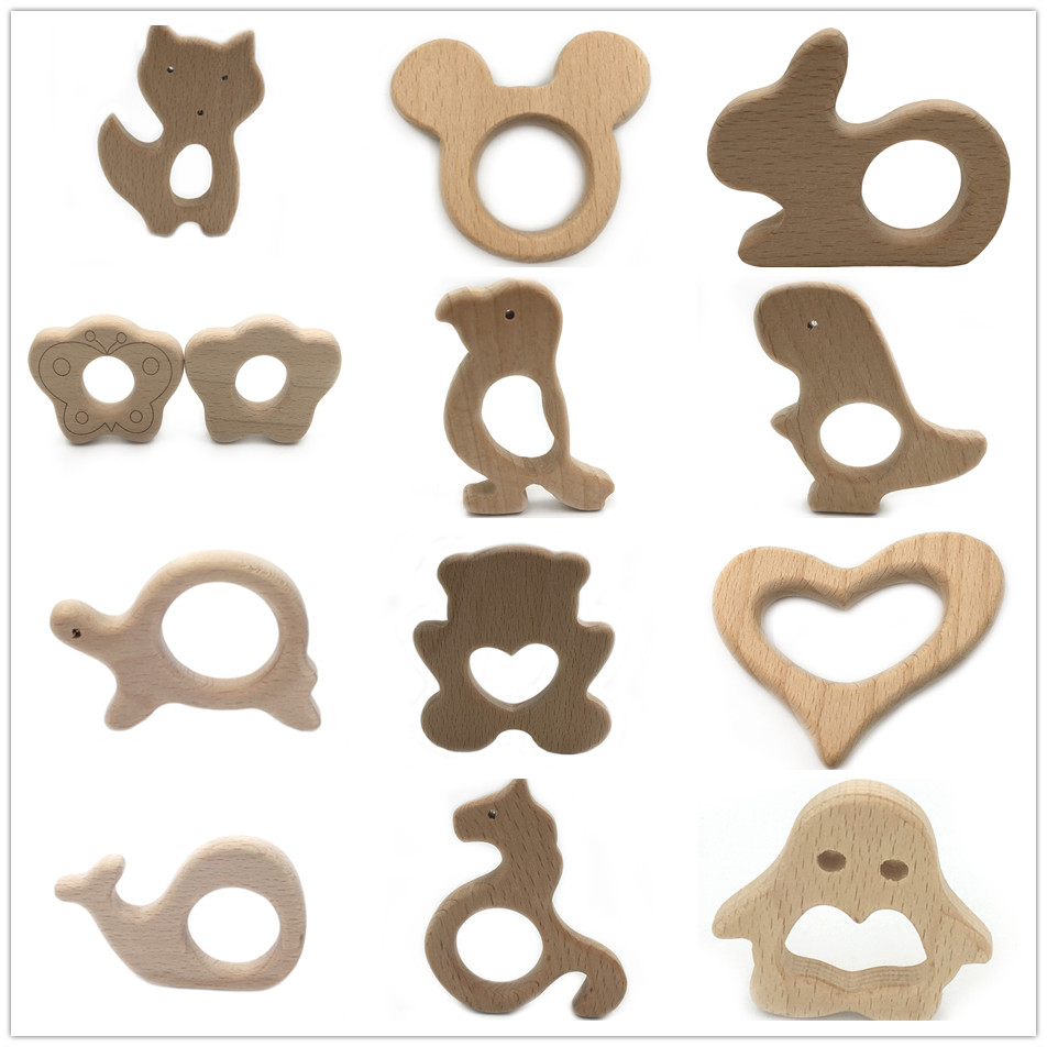BPA FREE Natural Beech Wood Teether Cartoon Animal Shape Wooden Baby Teether Toy Safe Newborn Teething Toy Baby Shower Gift 1PCS
