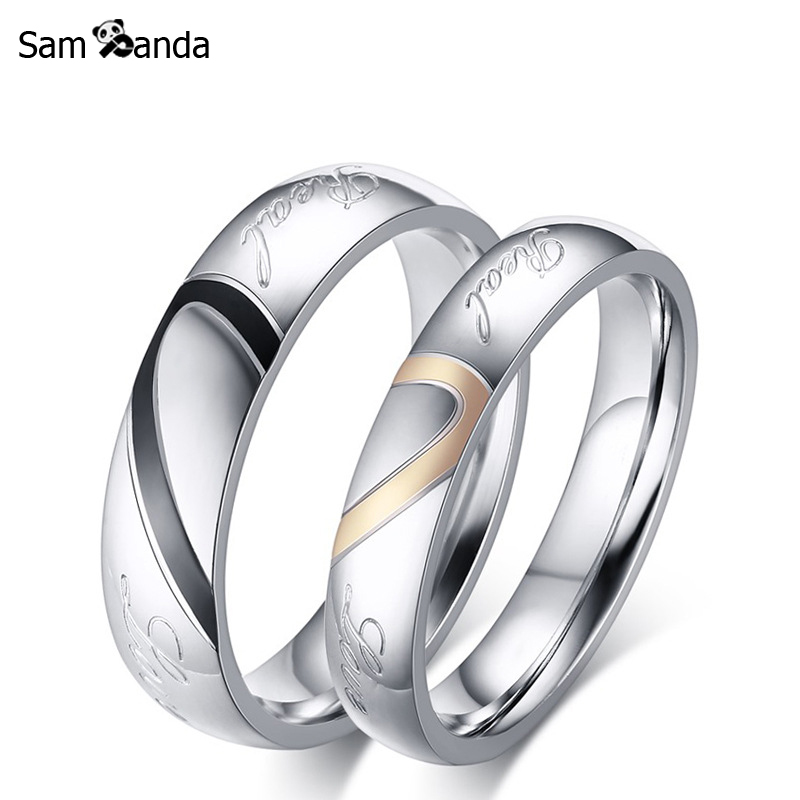 His & Hers Love Heart Wedding Promise Ring Men Set Stainless Steel Couples Engagement Bands For Men Woman Valentines Day Gift