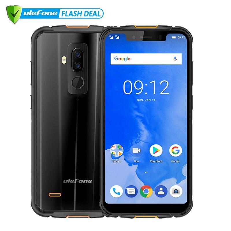Ulefone Armure 5 Étanche IP68 NFC 5.85 HD Mobile Téléphone MT6763 L'atco-core Android 8.1 4 gb + 64 gb Sans Fil chargeur Visage ID 5000 mah