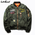 2016 New Letskeep Mens Army bomber jackets Baggy casual hip hop jacket men USA Silver baseball thick Jacket Plus size 5XL, MA200