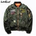 2016 nueva letskeep mens ejército bombardero chaquetas de hip hop casuales chaqueta de los hombres gruesa Chaqueta de béisbol Más El tamaño 5XL EE. UU. Plata, MA200