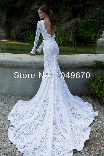 Berta 2014 Collection Long Sleeve Lace Wedding Dresses Sash Designer Backless Chapel Train Bridal Gowns