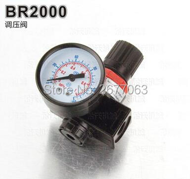 BR2000 1/4 Pneumatic Air Filter Regulator Valve GaugeAir Control Compressor Pressure 13mm male thread pressure relief valve for air compressor