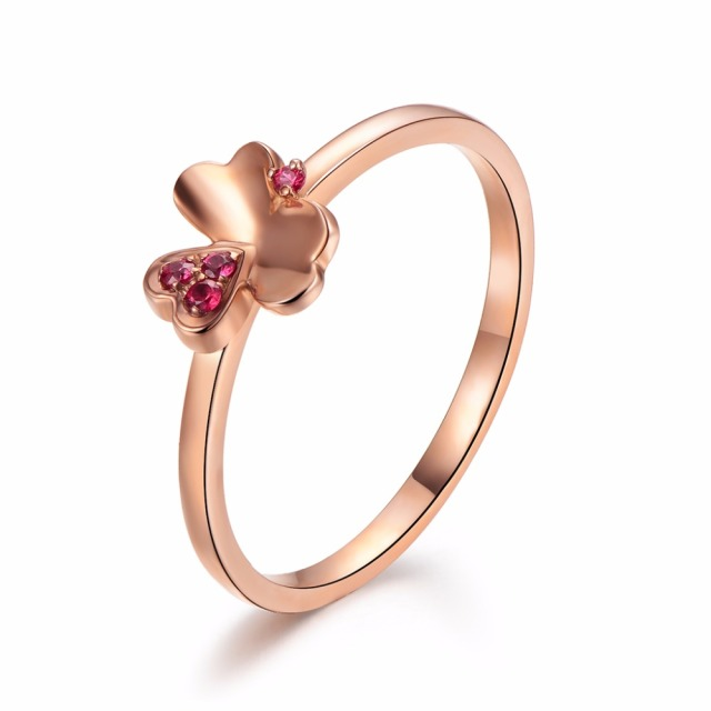 s gold one hearts in rose combined clover women ring four three rings sterling plated silver