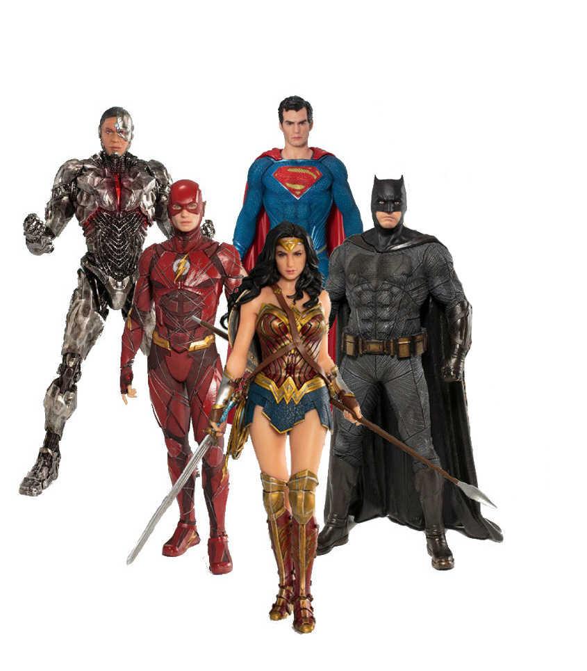 Phim hoạt hình phim hình Siêu Anh Hùng figurines jouets Superman Batman Cyborg flash Kỳ Người Phụ Nữ Hành Động Hình PVC Sưu Tập Đồ Chơi Quà Tặng bức tượng