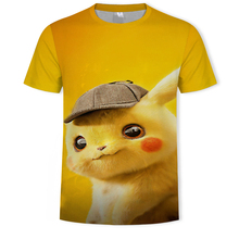 2019 Hot 3D Movie Detective Pokemon Pikachu T-shirt Harajuku streetwear Fashion Casual Tees Anime Cartoon Clothes men tshirt