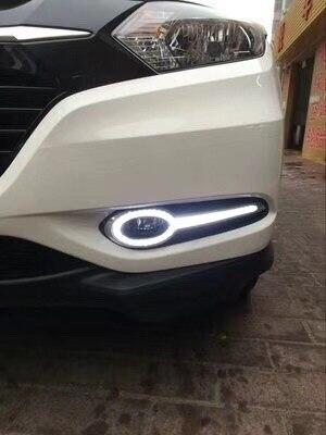 eOsuns LED DRL daytime running light top quality for Honda vezel HRV HR-V 2014-15, with yellow turn signal цена