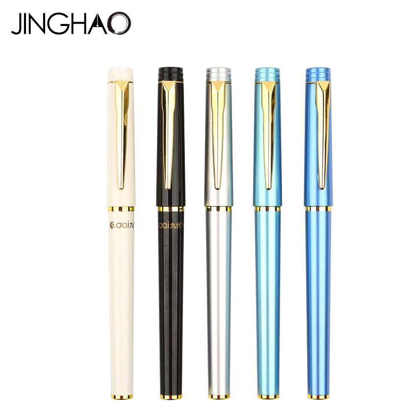 2pcs/box Metal Gold Clip Plastic Gel Pen White Black Silver-white Blue Green Signature Pens for Gift School Office Supplies  2 pcs black white 100