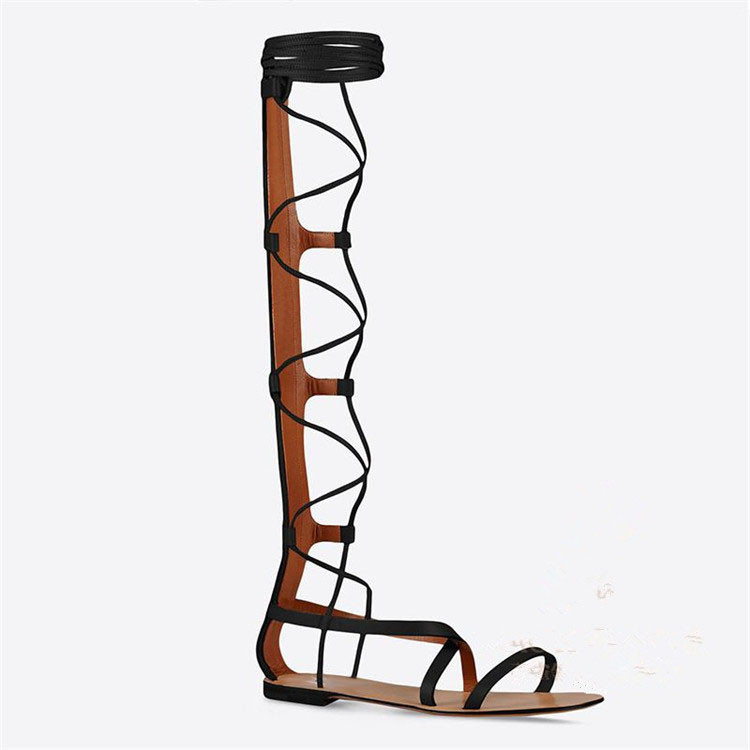 e1dafe92759 Summer Fashion Long Sandal Boots Brown and Black Cut Outs Woman Sandals  Lace Up Back Zipper Open Toe Flat Sandal Boots Free Ship-in Women s Sandals  from ...