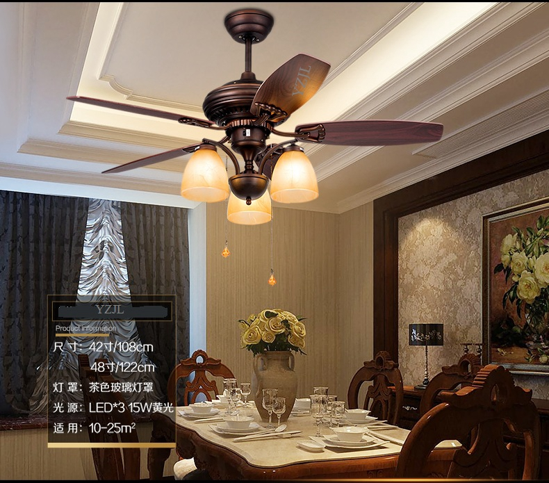 American Rustic Retro Fan Chandelier Fan Lights Living Room Dining Room  Bedroom Wooden Leaf Chandelier Fans