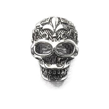 Cuentas de plata Bourbon Lily Fleur de lis Skull Karma ajuste pulsera collar, esqueleto DIY accesorios de cuentas regalo para la fabricación de joyas