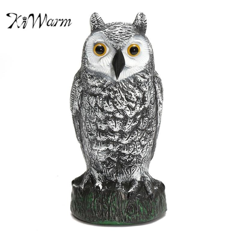 KiWarm Realistic Owl Decoy Figurines Statues Garden Protection Pest  Repellent Bird Scarer Sculptures Home Garden Ornament