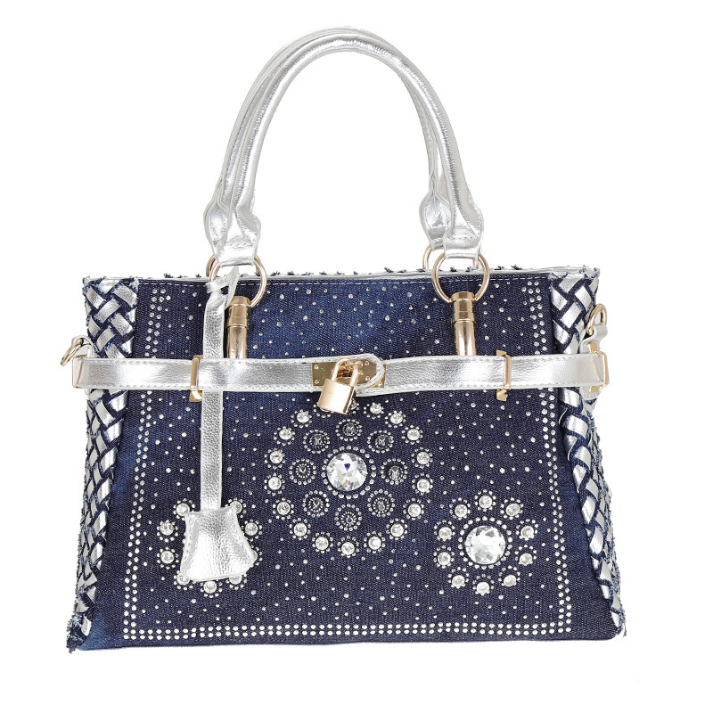 2018 Fashion womens handbag large oxford shoulder bags patchwork jean style and crystal decoration blue bag2018 Fashion womens handbag large oxford shoulder bags patchwork jean style and crystal decoration blue bag