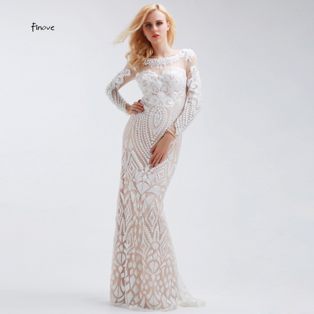 US $121.36 26% OFF|Finove White Long Evening Dresses Elegant 2019 with long  sleeves Straight Floor Length Formal Plus Size Prom Dresses Long-in ...